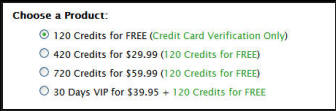 "When buying credits you can spend either $30 or $60 - which gets you either 420 or 720 as those figures include the ""120 credits for free)"
